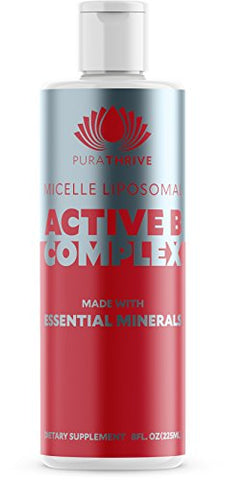 Vitamin B Complex - Micelle Liposomal Active B-Complex 8 oz Liquid by Purathrive. Active-B contains nine essential minerals & electrolytes to further support wellbeing & performance.