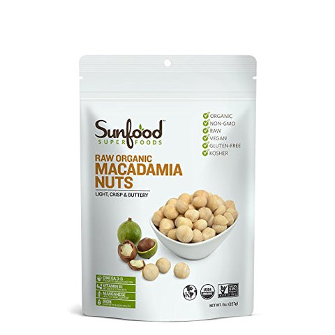Sunfood Macadamia Nuts, 8 Ounces, Organic, Raw