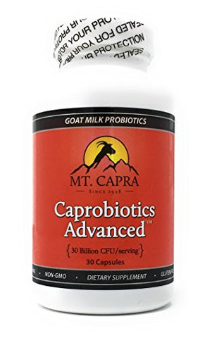 Shelf Stable Probiotic by Mt. Capra | Caprobiotics Advanced Probiotics for Women and Men, Daily Supplement of 30 Billion CFU, Cultured in Raw Goat Milk, 7 Strains of Live Beneficial Bacteria, 30 Pills