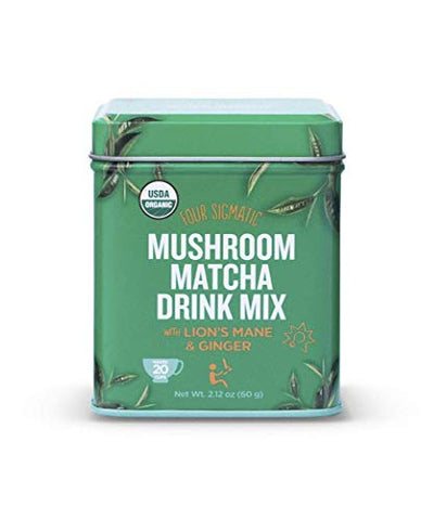 Four Sigmatic Mushroom Matcha - USDA Organic - Ceremonial Grade Matcha Grean Tea Powder with Lions Mane Mushroom Powder and Ginger - Balanced Energy and Focus - Vegan, Paleo, 60 gram - 20 servings