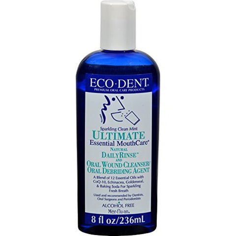ECO-DENT Premium Oral Care Mouthwash Daily Rinse Sparkling Clean Mint 8 oz