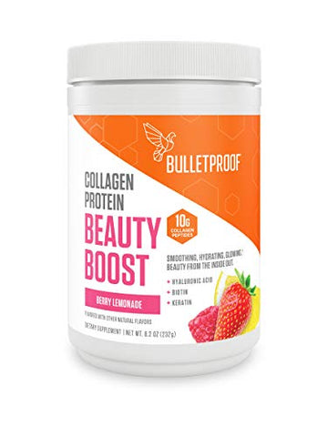 Bulletproof Beauty Boost with Collagen Protein, Hyaluronic Acid, Biotin, Vitamin C, Zinc to Support Hair, Skin and Nails, Keto Friendly, Berry Lemonade, 8.2 Ounces