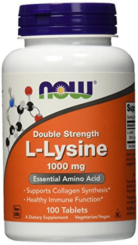 NOW L-Lysine 1000 mg Double Strength,100 Tablets