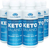 PuraTHRIVE Liposomal Keto Balance Ketosis Supplement - Grass Fed Beef Collagen, Coconut MCTs, Algal DHA - 8oz Liquid Bottle - Increase Fat Loss, Improve Heart Health (Thick Collagen Formula)