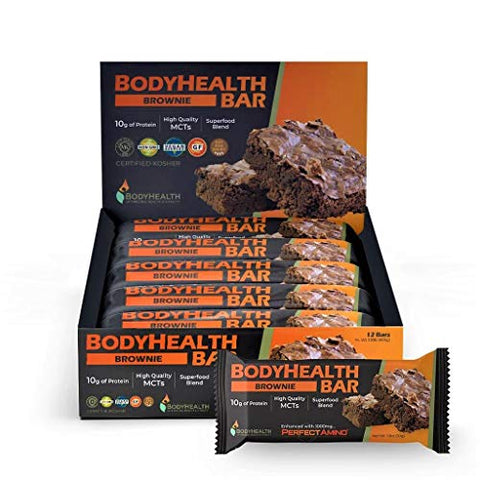 BodyHealth Bar: A Protein Energy Snack (Cocoa-Brownie Flavor, 12pk) with 10g of protein | Plant Based MCT's | Superfood Blend | Vegan | 1000mg PerfectAmino per bar!