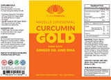 Curcumin Gold Liposomal Curcumin Supplement with DHA and Ginger Oil by PuraTHRIVE. Micelle Liposomal Delivery for Maximum Absorption. Vegan, GMO Free, Made in the USA.