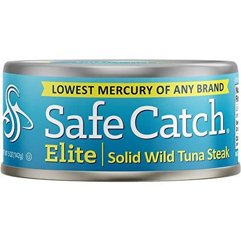 Safe Catch Elite Lowest Mercury Solid Wild Tuna Steak, 5 Ounce Can The Only Brand To Test Every Tuna for Mercury (Pack Of 12)