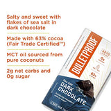 Keto Chocolate Bars, Sea Salt Dark Chocolate, 2 Net Carbs, 6g Protein, 4 Pack, Bulletproof Healthy Snacks, Made with 57% Fair-Trade Certified Cocoa, 13g Healthy Fat from MCT Oil, Low Carb, Sugar-Free