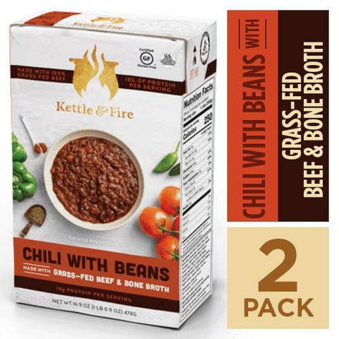 Chili with Beans and Grass Fed Beef and Bone Broth by Kettle and Fire, Pack of 2, Gluten Free Collagen Soup on the Go, Non GMO, 18g of protein, 16.9 fl oz