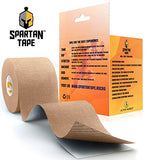 Spartan Tape Kinesiology Tape Perfect Support for Athletic Sports, Recovery and PhysioTherapy Kinesio Tape FREE Kinesiology Taping Guide! - Uncut Rocktape Rock Tape KT Tape Roll (Beige)