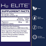 Quicksilver Scientific H2 Elite Tablets - High Dose Molecular Hydrogen Water Additive for Energy Support, Perfect for Open Containers - Antioxidant Hydrating Drink (60 Dissolving Tablets)