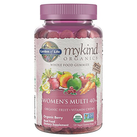 Garden of Life Gummy Vitamin for Women - mykind Organics Gummy Multivitamin for Women 40+, 120 Count Certified Organic Fruit Chews