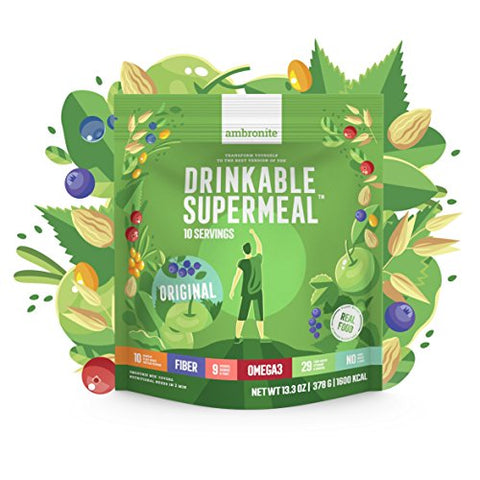 Meal Replacement Nutritional Shake by Ambronite - ORIGINAL - High Fiber Superfood & Protein Drink for Healthy Weight Loss - All Natural Smoothie Mix for Men and Women - 13.3 oz, 1600 cal Pouch