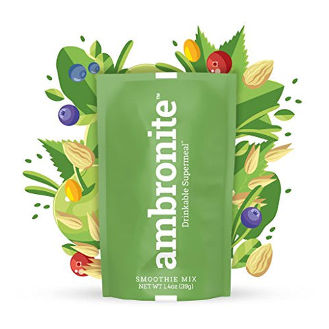Meal Replacement Nutritional Shake by Ambronite - High Fiber Superfood & Protein Drink for Healthy Weight Loss - All Natural Smoothie Mix for Men and Women - Quench Hunger, 1.4 oz, 165 cal, Pack of 10