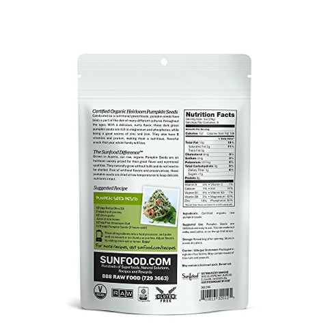 Sunfood Heirloom Pumpkin Seeds, 8oz, Organic, Raw