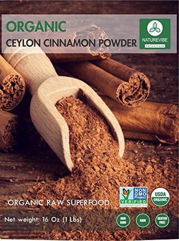 Premium Quality Organic Ceylon Cinnamon Powder (1lb) by Naturevibe Botanicals, Raw, Gluten-Free & Non-GMO (16 ounces)