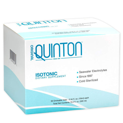 Original Quinton Isotonic - Liquid Mineral Replenishment + Hydration Formula with Raw Unheated Ocean Minerals, Formula to Support Detox, Sleep + Digestion (30 Single Serving Vials)