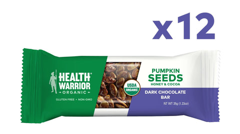 Health Warrior Pumpkin Seed Protein Bars, Dark Chocolate, 8g Plant Protein, Gluten Free, Certified Organic, 12 Count