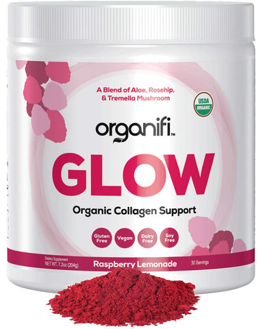Organifi: Glow- Organic Collagen Supplement Powder - USDA Certified Organic & Vegan - Superior Hydration, Build Collagen, Achieve Radiant Skin - Potent Superfood Blend