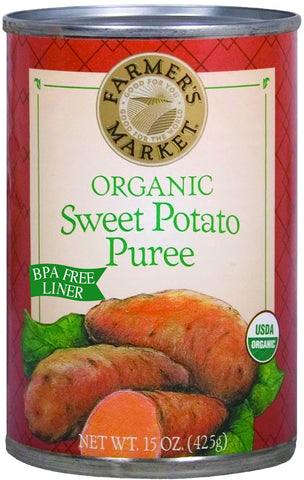 Farmer's Market Organic Canned Sweet Potato Puree, 15 Ounce (Pack of 12)