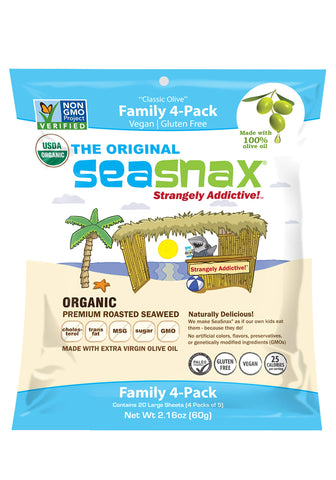 SeaSnax Roasted Seaweed Snack Organic Family Pack of 4 2.16 Ounce Total Seaweed Snacks With the Salty Crunch of Chips