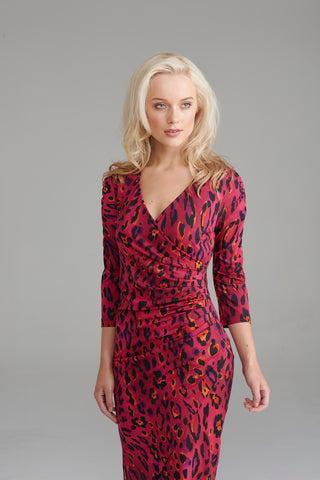 AD2261 Pink Leopard Print Wrap Dress