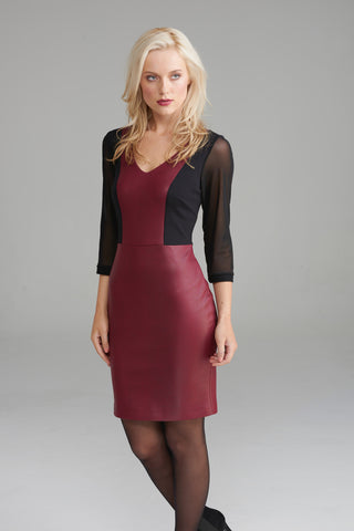 A2268 Cranberry Leather Dress