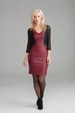 AD2268 Cranberry Leather Dress