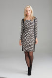 A2297 Grey Leopard Print Dress