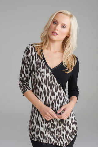 A2298 Grey Leopard Print Top