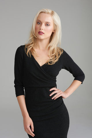 AD2307 Black Shimmer Wrap Dress