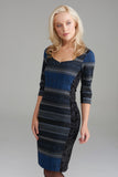 A2310 Blue Sparkle Stripe and Velvet Dress