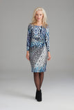 2316 Indigo Print Ruched Dress