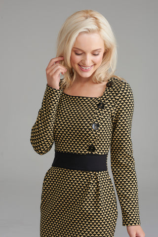 A2342 Yellow & Black Geo Print Dress