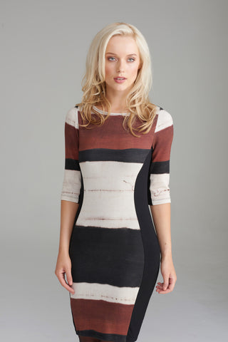A2358 Brown & Cream Striped Dress
