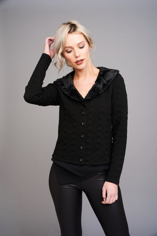 A 2515 Fur Collar Cardigan