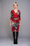 2519 Red Oriental Print Wrap Dress