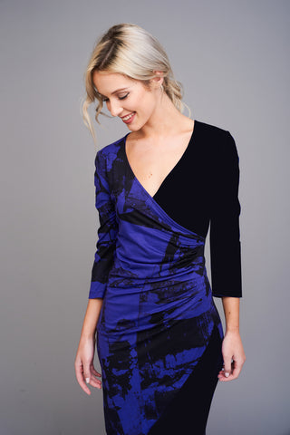 2553 Purple and Black Printed Wrap Dress