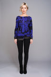 2555 Purple and Black Print Top