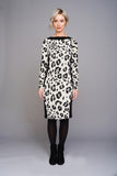 2570 Black & White Leopard Print Dress