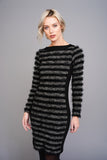 2578 Black and Grey Shaggy Stripe Dress