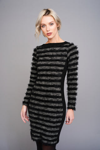 A 2578 Black and Grey Shaggy Stripe Dress
