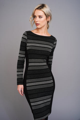 2582 Black & Silver Striped Dress