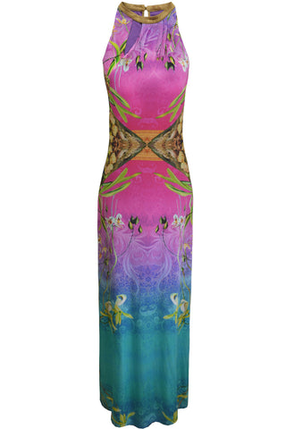 AD1862 Tropical Print Maxi Dress