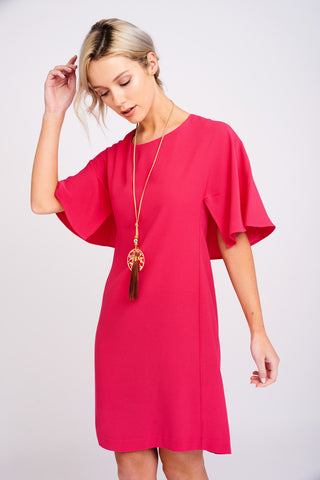 2474 Pink Cape Sleeved Dress