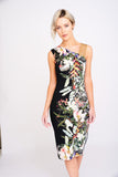 A2404 Botanical Print Asymmetric Dress