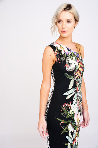 2404 Botanical Print Asymmetric Dress
