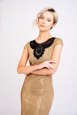 1 2401 Gold and Black Dress