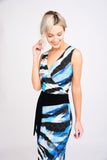 A2434 Blue Print Crossover Dress
