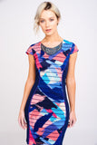 A2441 Blue and Pink Print Embellished Dress